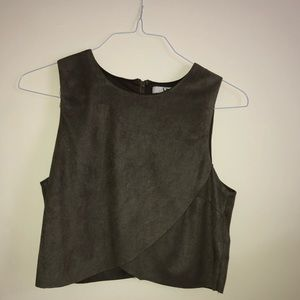 brown suede crop top tank(LARGE & NEVER WORN)